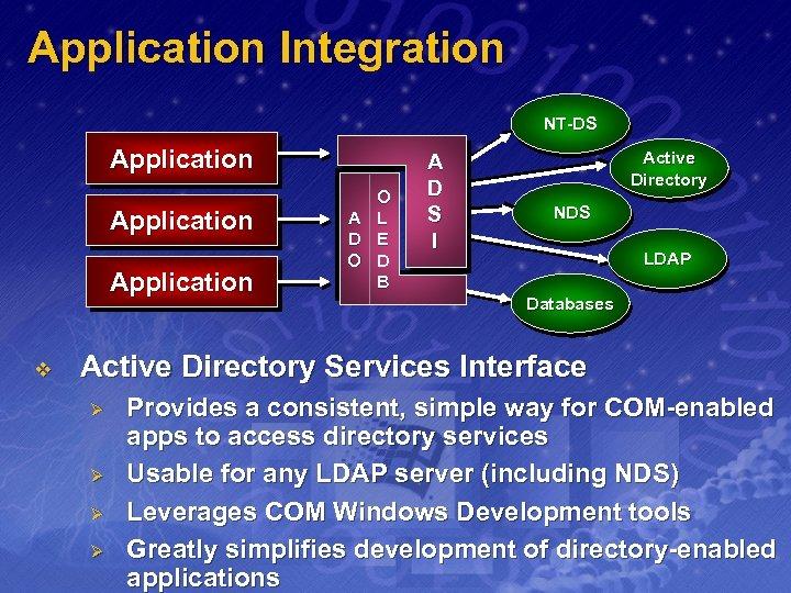 Application Integration NT-DS Application v A D O O L E D B A