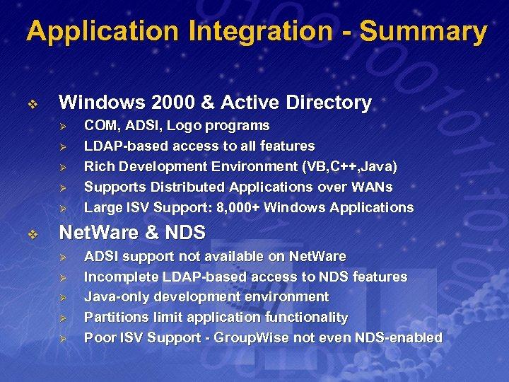 Application Integration - Summary v Windows 2000 & Active Directory Ø Ø Ø v