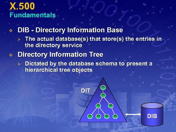 X. 500 Fundamentals v DIB - Directory Information Base Ø v The actual database(s)