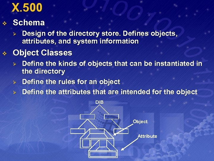 X. 500 v Schema Ø v Design of the directory store. Defines objects, attributes,