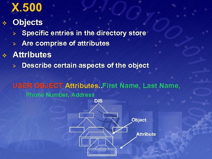 X. 500 v Objects Ø Ø v Specific entries in the directory store Are