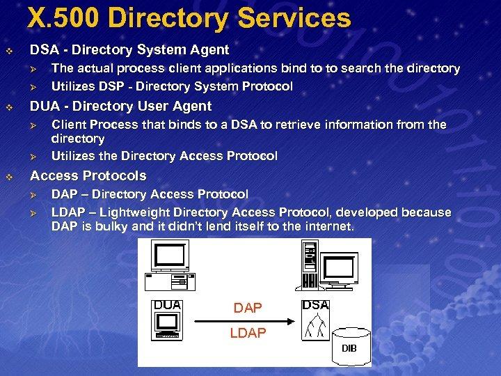 X. 500 Directory Services v DSA - Directory System Agent Ø Ø v DUA