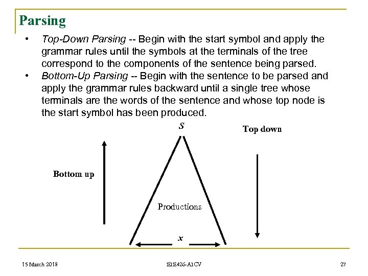 Parsing • • Top-Down Parsing -- Begin with the start symbol and apply the