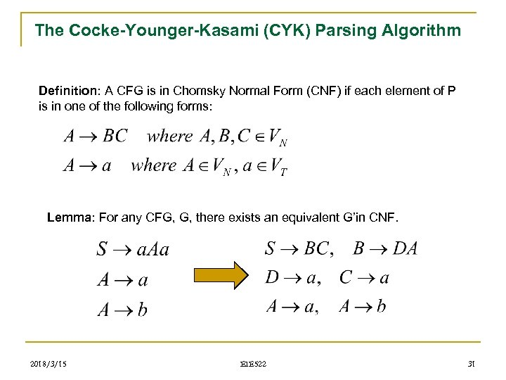 The Cocke-Younger-Kasami (CYK) Parsing Algorithm Definition: A CFG is in Chomsky Normal Form (CNF)