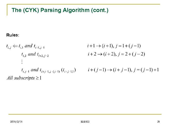 The (CYK) Parsing Algorithm (cont. ) Rules: 2018/3/15 EIE 522 35