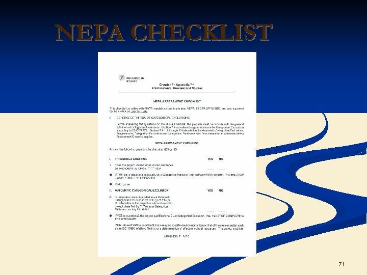 NEPA CHECKLIST 71