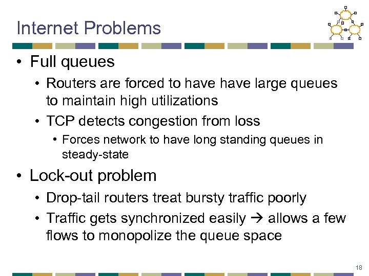 Internet Problems • Full queues • Routers are forced to have large queues to