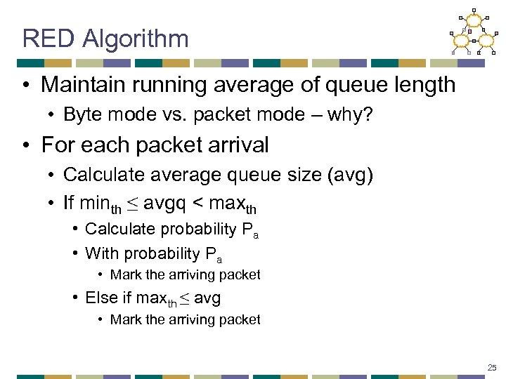 RED Algorithm • Maintain running average of queue length • Byte mode vs. packet