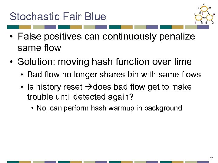 Stochastic Fair Blue • False positives can continuously penalize same flow • Solution: moving