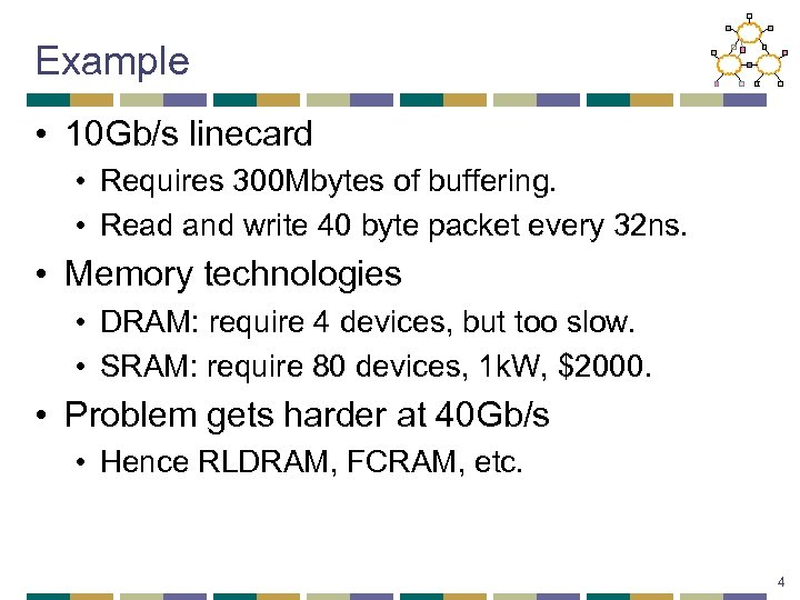 Example • 10 Gb/s linecard • Requires 300 Mbytes of buffering. • Read and
