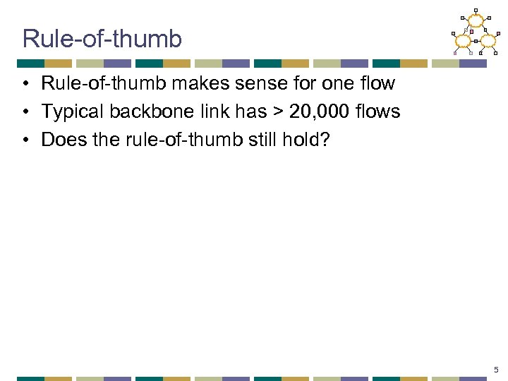 Rule-of-thumb • Rule-of-thumb makes sense for one flow • Typical backbone link has >