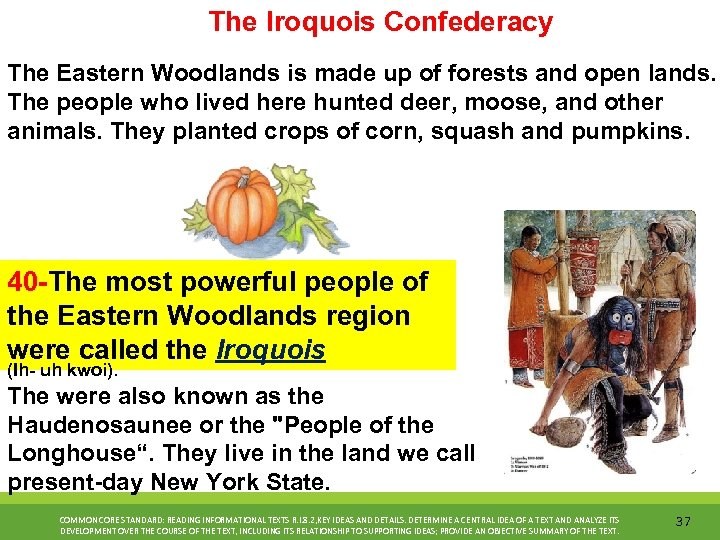 The Iroquois Confederacy The Eastern Woodlands is made up of forests and open lands.