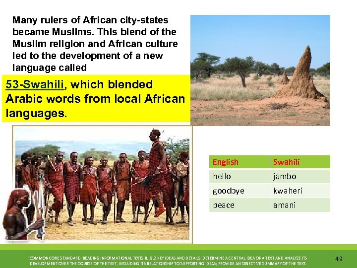 Many rulers of African city-states became Muslims. This blend of the Muslim religion and
