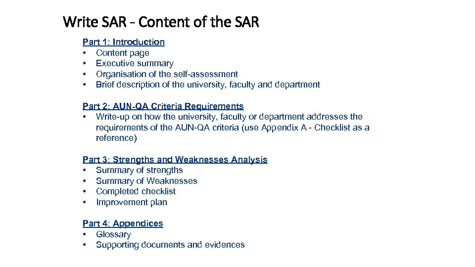 Write SAR - Content of the SAR Part 1: Introduction • Content page •