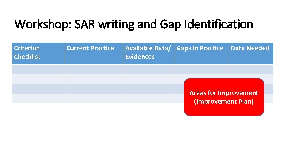 Workshop: SAR writing and Gap Identification Criterion Checklist Current Practice Available Data/ Gaps in