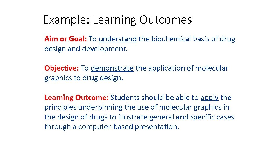 Example: Learning Outcomes Aim or Goal: To understand the biochemical basis of drug design