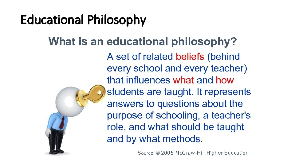 Educational Philosophy What is an educational philosophy? A set of related beliefs (behind every