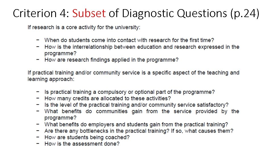 Criterion 4: Subset of Diagnostic Questions (p. 24)