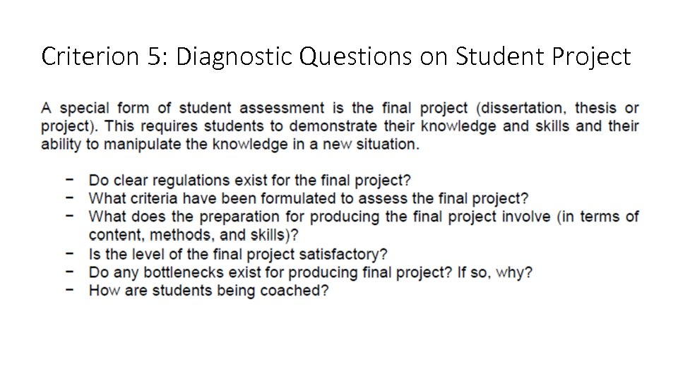 Criterion 5: Diagnostic Questions on Student Project