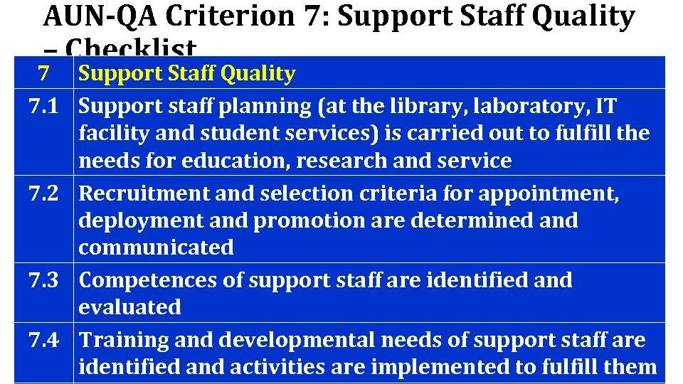 AUN-QA Criterion 7: Support Staff Quality – Checklist 7 Support Staff Quality 7. 1