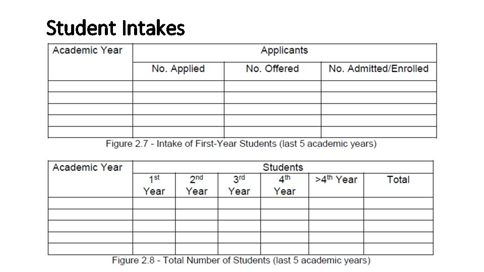 Student Intakes