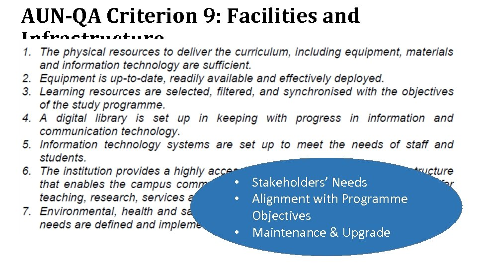 AUN-QA Criterion 9: Facilities and Infrastructure • Stakeholders' Needs • Alignment with Programme Objectives