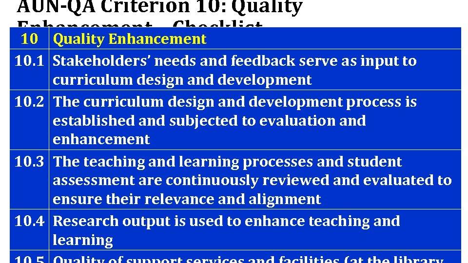 AUN-QA Criterion 10: Quality Enhancement – Checklist 10 Quality Enhancement 10. 1 Stakeholders' needs