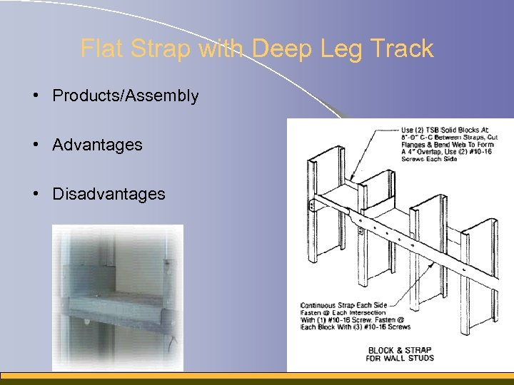 Flat Strap with Deep Leg Track • Products/Assembly • Advantages • Disadvantages