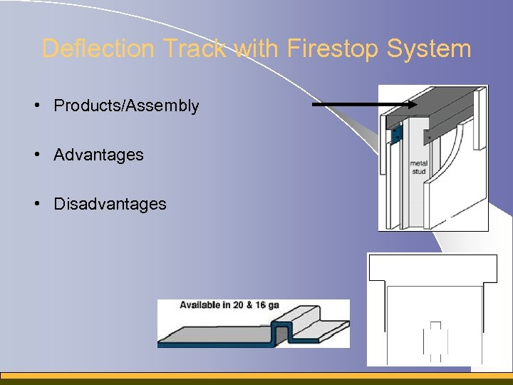 Deflection Track with Firestop System • Products/Assembly • Advantages • Disadvantages