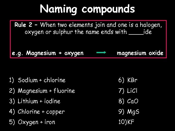 Naming compounds Rule 2 – When two elements join and one is a halogen,