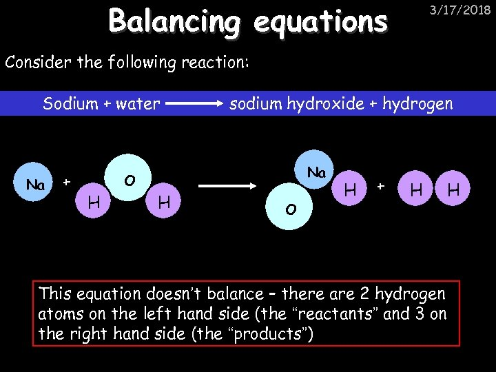 Balancing equations 3/17/2018 Consider the following reaction: Sodium + water Na + sodium hydroxide