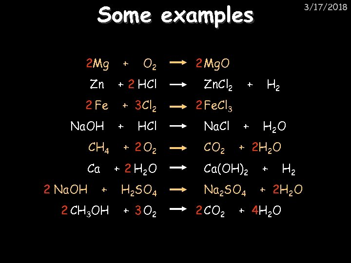 Some examples 2 Mg O 2 2 Mg. O Zn + 2 HCl Zn.