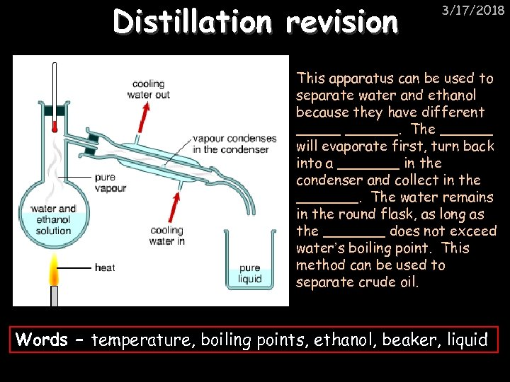 Distillation revision 3/17/2018 This apparatus can be used to separate water and ethanol because
