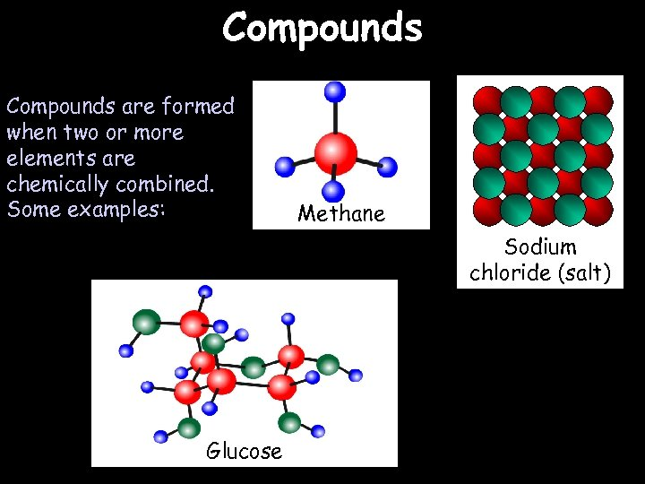 Compounds are formed when two or more elements are chemically combined. Some examples: Methane