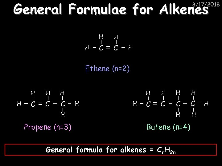 General Formulae for Alkenes 3/17/2018 H H H C C H Ethene (n=2) H