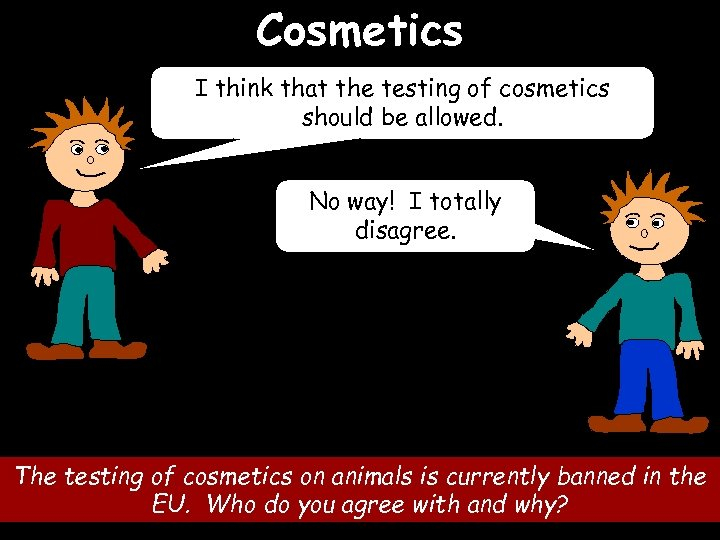 Cosmetics I think that the testing of cosmetics should be allowed. No way! I