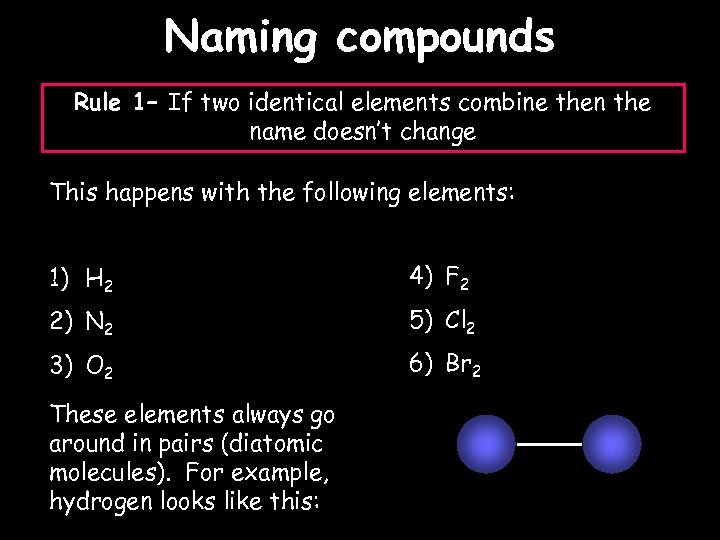Naming compounds Rule 1– If two identical elements combine then the name doesn't change