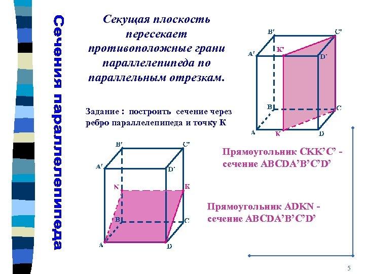 Секущая плоскость пересекает противоположные грани параллелепипеда по параллельным отрезкам. Задание : построить сечение через