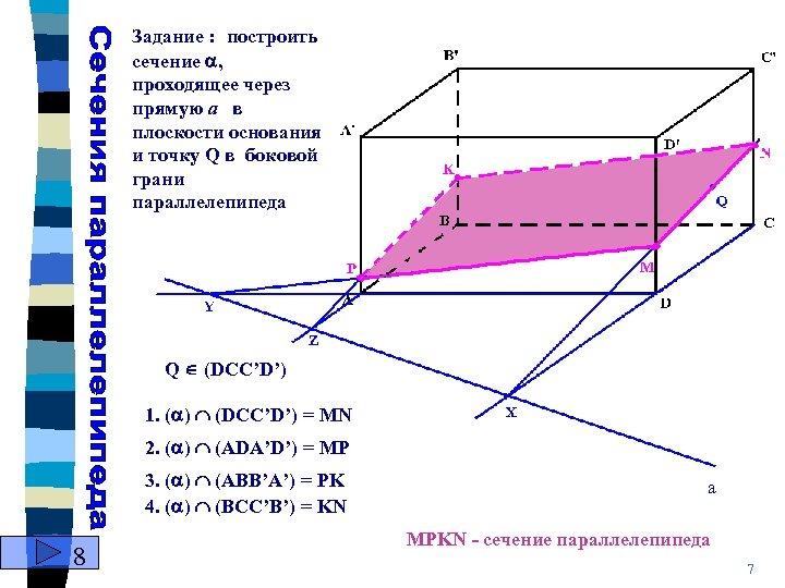 Задание : построить сечение , проходящеe через прямую а в плоскости основания и точку