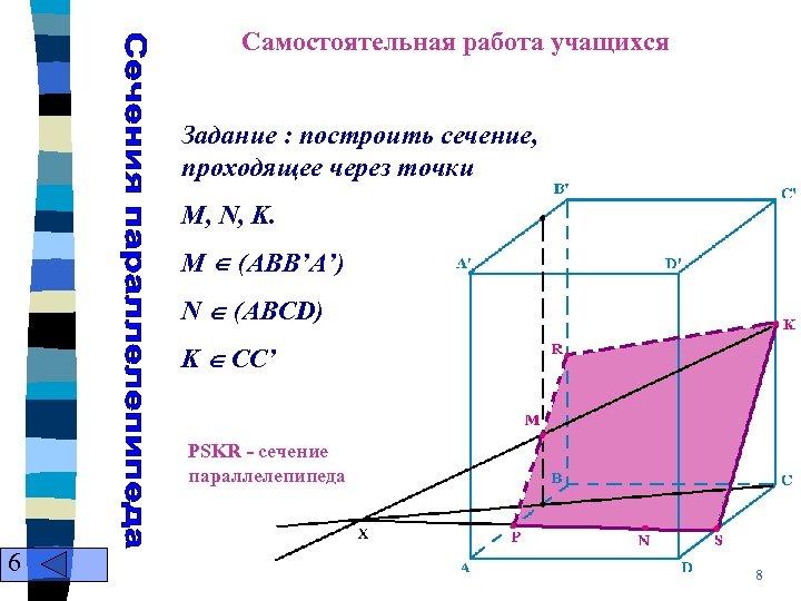 Самостоятельная работа учащихся Задание : построить сечение, проходящее через точки M, N, K. M