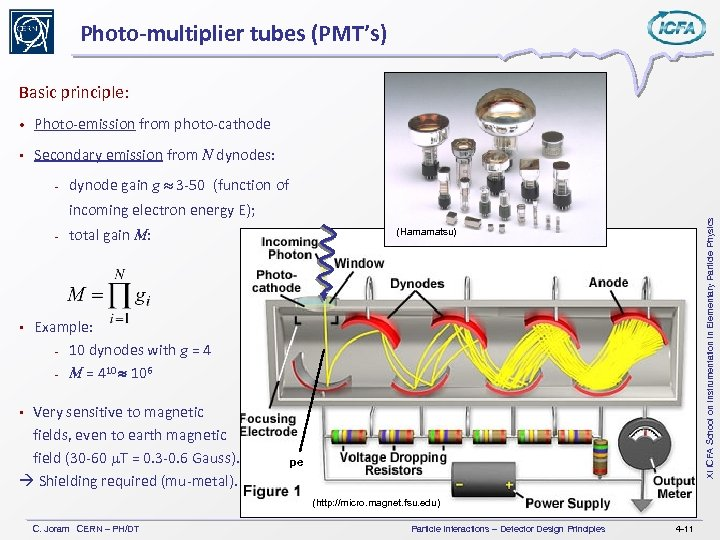 Photo-multiplier tubes (PMT's) Basic principle: • Photo-emission from photo-cathode Secondary emission from N dynodes: