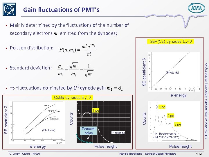 Gain fluctuations of PMT's • Mainly determined by the fluctuations of the number of