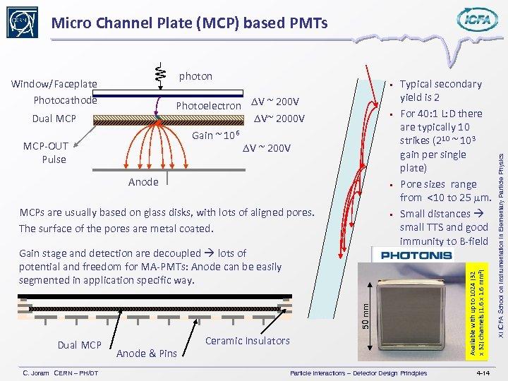 • Photoelectron DV ~ 200 V DV~ 2000 V Gain ~ 106 DV
