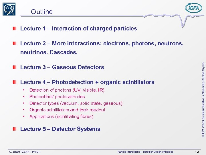 Outline Lecture 1 – Interaction of charged particles Lecture 2 – More interactions: electrons,