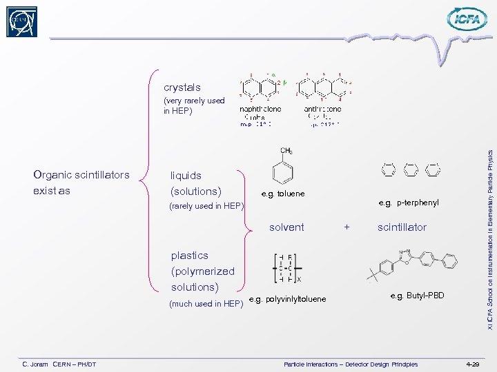 crystals Organic scintillators exist as liquids (solutions) e. g. toluene e. g. p-terphenyl (rarely