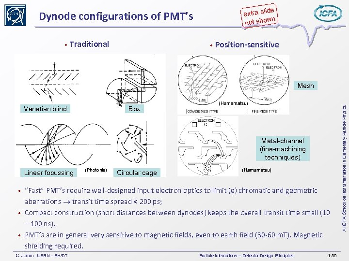 de extra sli wn not sho Dynode configurations of PMT's • Traditional • Position-sensitive