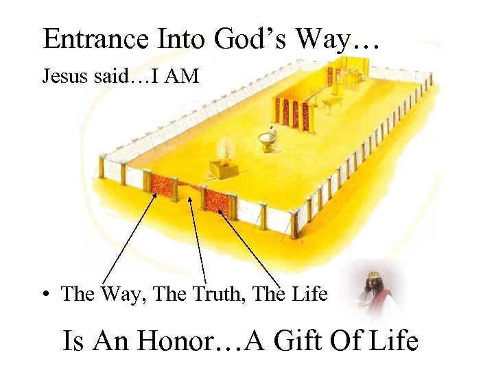 Entrance Into God's Way… Jesus said…I AM • The Way, The Truth, The Life