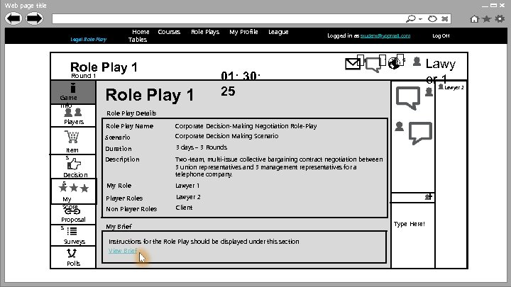 Web page title http: //www. anulrp. com Legal Role Play Home Tables Courses Role