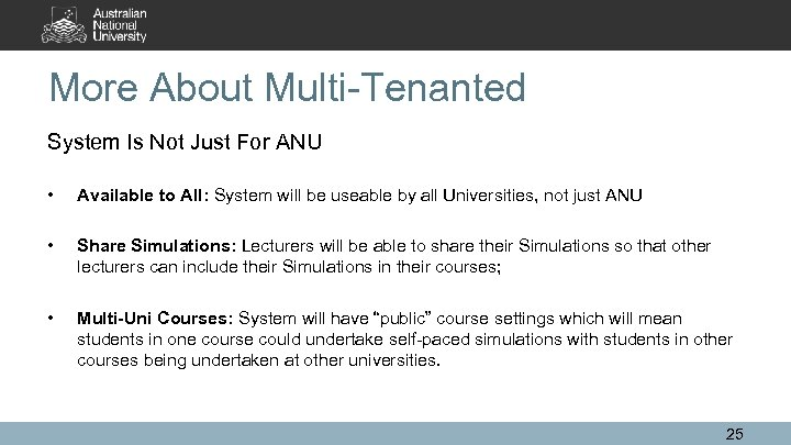 More About Multi-Tenanted System Is Not Just For ANU • Available to All: System