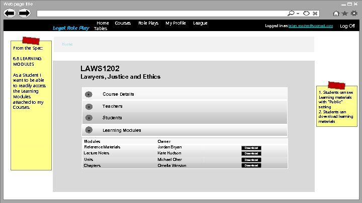 Web page title http: //www. anulrp. com Home Legal Role Play Tables From the